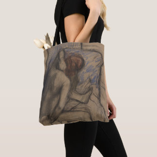 Woman Drying Her Hair Tote Bag