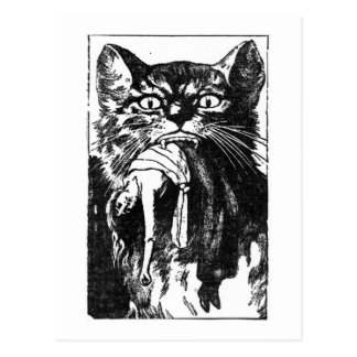 Woman Eating Cat Postcard