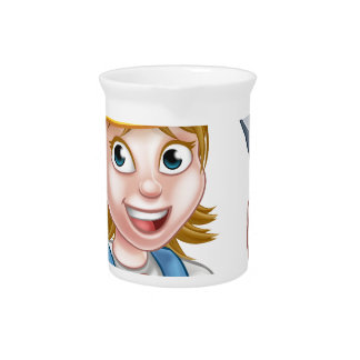 Woman Electrician Holding Screwdriver Beverage Pitchers