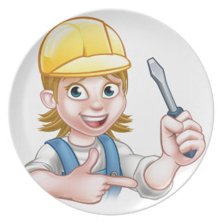 Woman Electrician Holding Screwdriver Dinner Plate