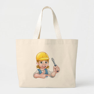 Woman Electrician Holding Screwdriver Large Tote Bag