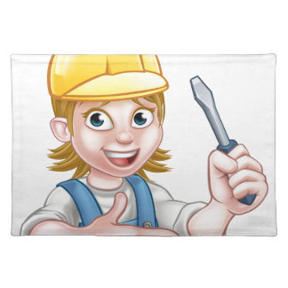 Woman Electrician Holding Screwdriver Placemat