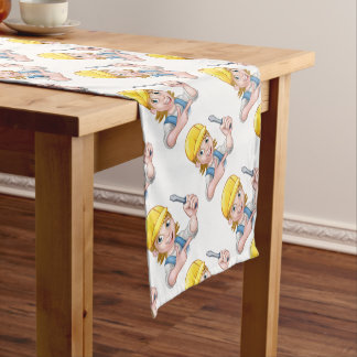 Woman Electrician Holding Screwdriver Short Table Runner