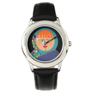 Woman Face Colorful Black Adorable Hipster Chic Watch