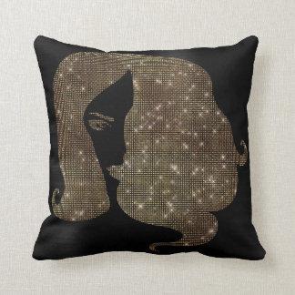 Woman Face Hair Golden Sparkly Black GlitterGlam Throw Pillow