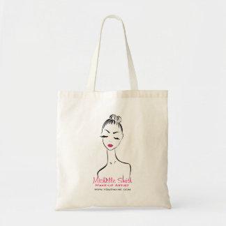 Woman face Make-up artist company branding Budget Tote Bag