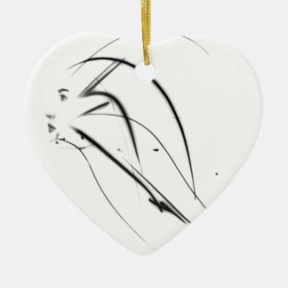 Woman face photo manipulation ceramic heart ornament