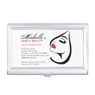 Woman face red lips long eyelashes Makeup Icon Business Card Holder