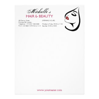 Woman face red lips long eyelashes Makeup Icon Letterhead