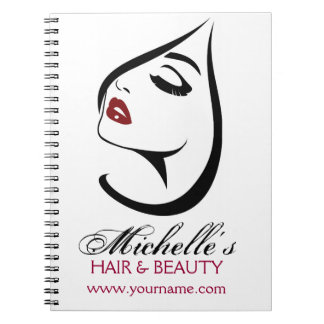 Woman face red lips long eyelashes Makeup Icon Notebook