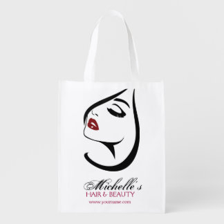 Woman face red lips long eyelashes Makeup Icon Reusable Grocery Bag