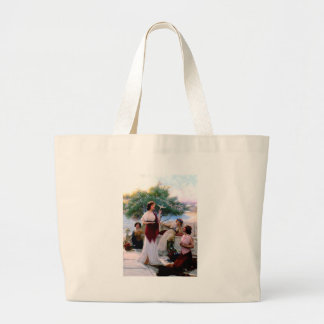 Woman Feeding Dove antique painting Bags