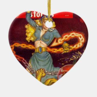 Woman Fighting Monster Ceramic Heart Ornament