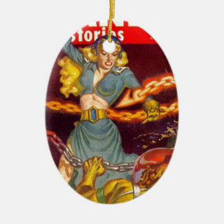 Woman Fighting Monster Ceramic Oval Ornament