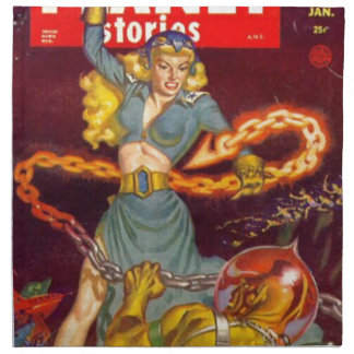 Woman Fighting Monster Napkin