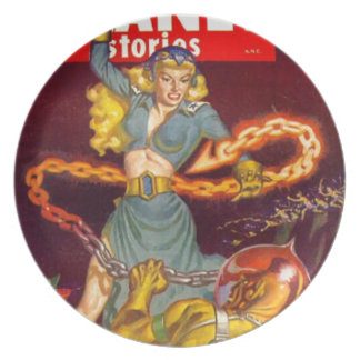 Woman Fighting Monster Plate