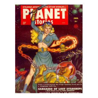 Woman Fighting Monster Postcard
