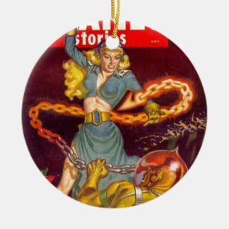 Woman Fighting Monster Round Ceramic Ornament