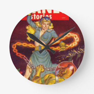 Woman Fighting Monster Round Clock