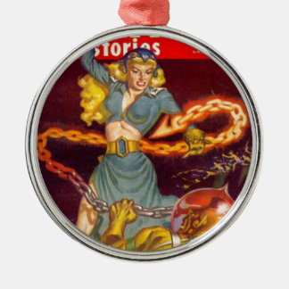 Woman Fighting Monster Silver-Colored Round Ornament