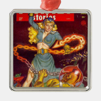 Woman Fighting Monster Silver-Colored Square Ornament