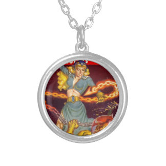 Woman Fighting Monster Silver Plated Necklace