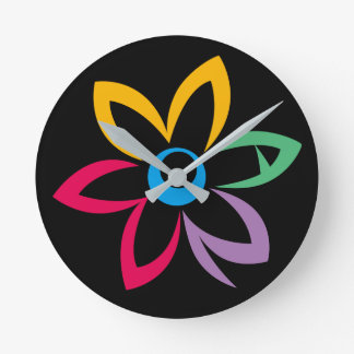 WOMAN FLOWER BLACK ROUND CLOCK