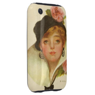 Woman Flower Classy  Vintage Tough iPhone 3 Covers