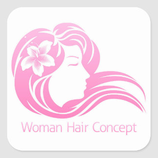 Woman Flower Hair Concept Square Sticker