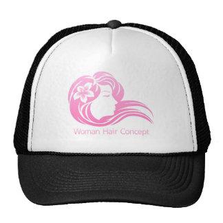 Woman Flower Hair Concept Trucker Hat