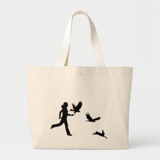 Woman Flying Harris Hawks Large Tote Bag