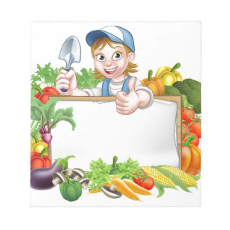 Woman Gardener Vegetables Sign Notepad