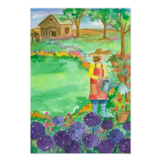 Woman Gardening Allium Watercolor Flowers Poster
