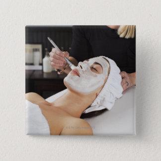 Woman Getting Spa Treatment. 2 Inch Square Button