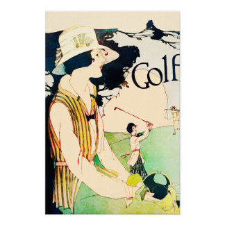 Woman Golfer - Vintage Watercolour Print
