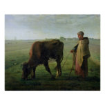Woman Grazing her Cow, 1858 Poster