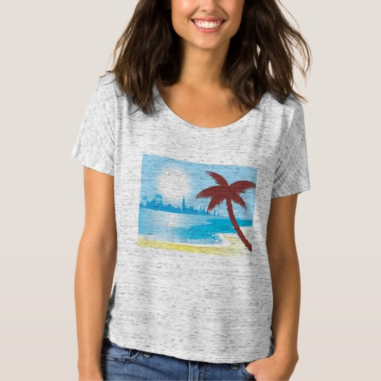 Woman grey t-shirt with Palms