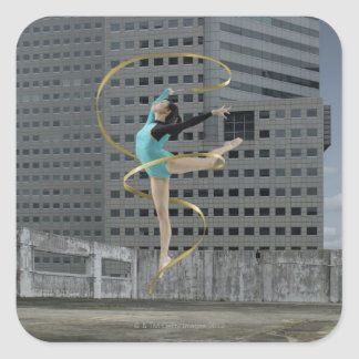 Woman gymnast outdoors on rooftop jumping in air square sticker