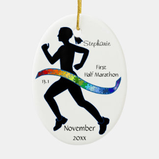 Woman Half Marathon Runner Puzzle Ribbon Christmas Tree Ornament