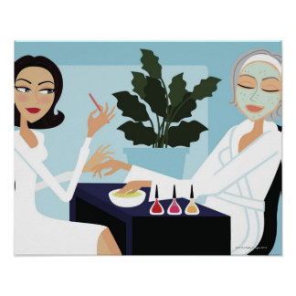 Woman having manicure and facial at spa poster