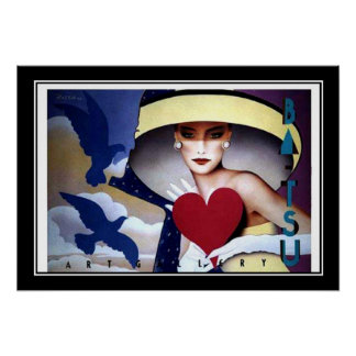 Woman Heart Art Deco Poster