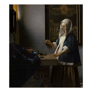 Woman Holding a Balance by Johannes Vermeer Poster