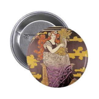 Woman Holding A Bundle of Wheat 2 Inch Round Button