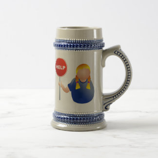 Woman Holding a Help Sign Beer Stein