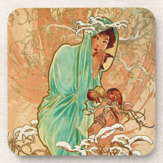 Woman Holding Bird in Golden Snow Covered Tree Coasters