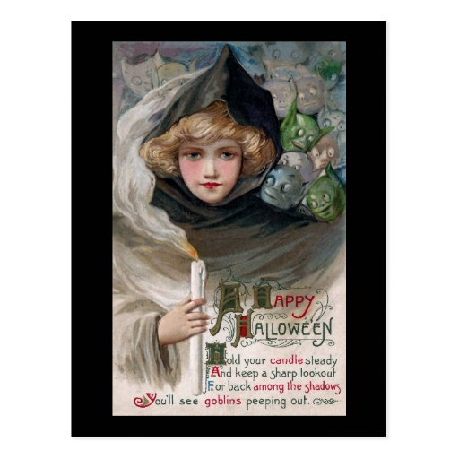 Woman Holding Candle and Goblins Vintage Halloween Post Cards