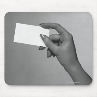 Woman Holding Card Mouse Pad