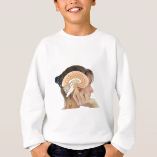 Woman holding hemisphere model  against head sweatshirt