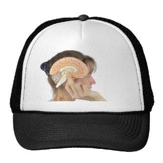 Woman holding hemisphere model  against head trucker hat