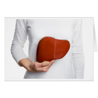 Woman holding human liver model at white body card